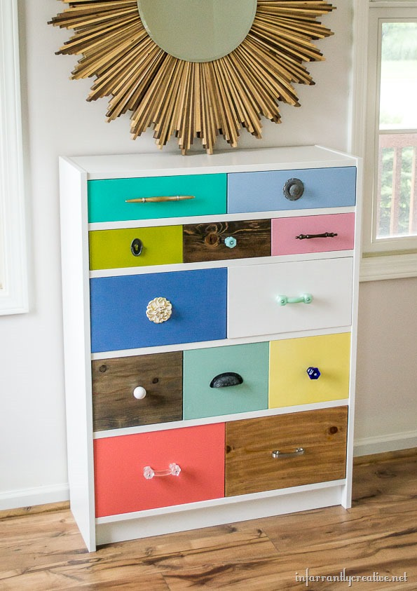 Ikea BILLY bookcase turned into a dresser with a cool drawers. (via infarrantlycreative)