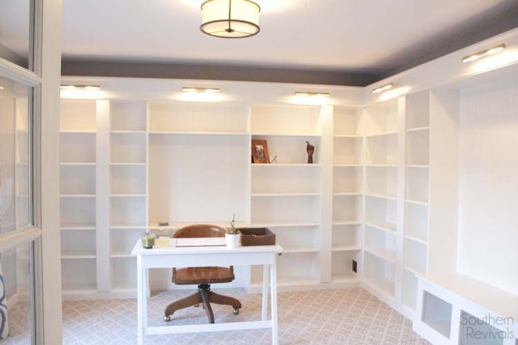 Getting a built-in library look with Billy bookcases is possible. Perfect for a home office! (via southernrevivals)