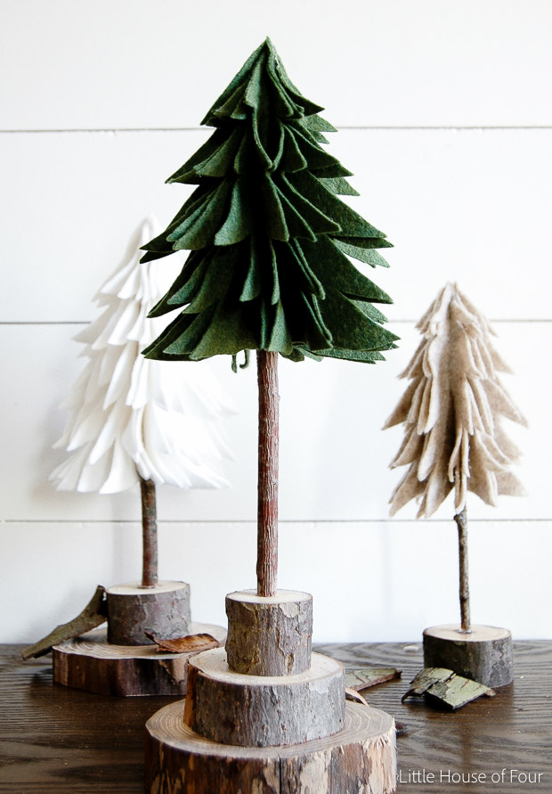 Budget Friendly DIY Rustic Felt Christmas Trees
