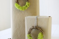 moss wreath gift toppers