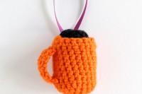 crochet mug ornament