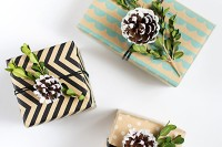 boxwood pinecone gift topper