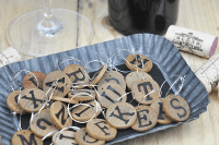 wood letter wine charms