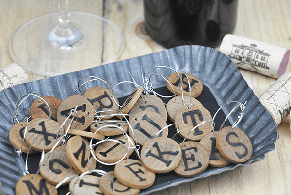 wood letter wine charms (via kraftykath)