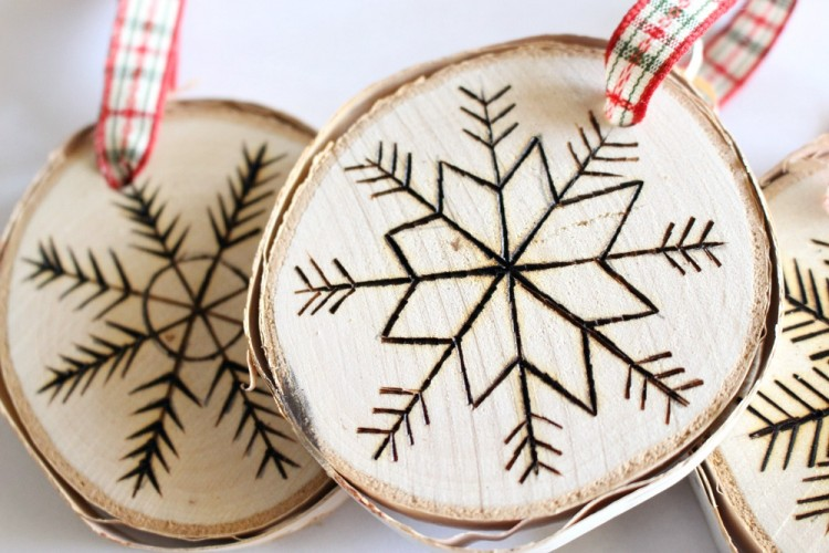 DIY Birch Slice Ornaments With Wood Burned Design