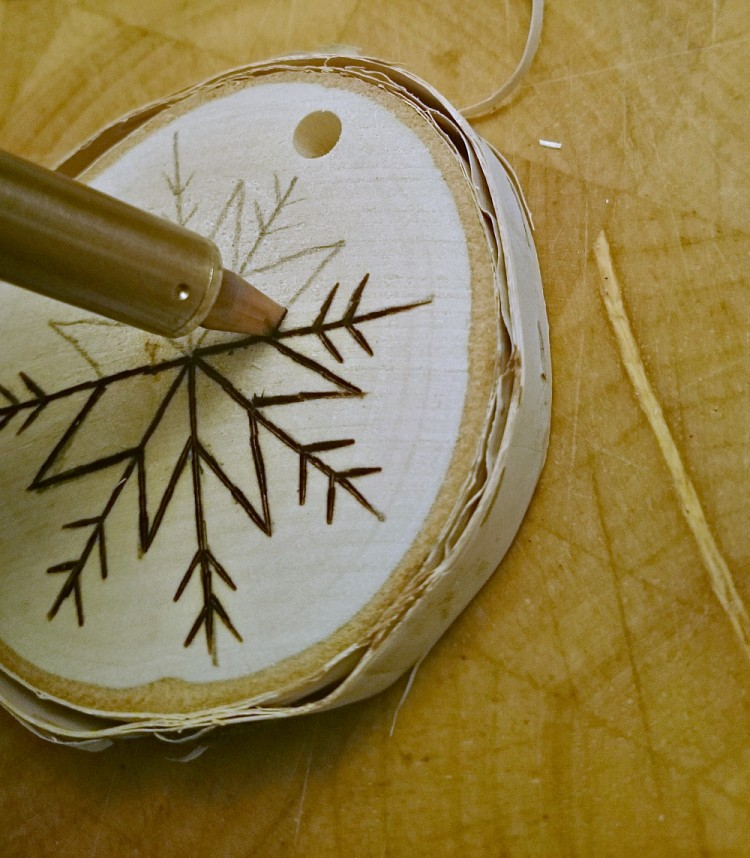 DIY Birch Slice Ornaments With Wood Burned Design