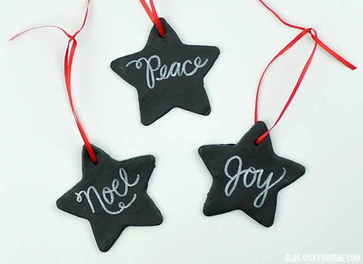 Picture Of diy chalkboard clay christmas ornaments  1