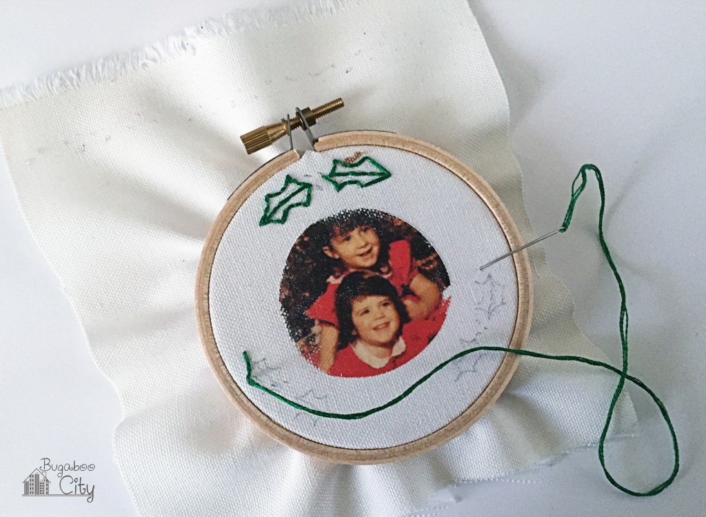 Picture Of diy embroidered photo ornaments for christmas  5