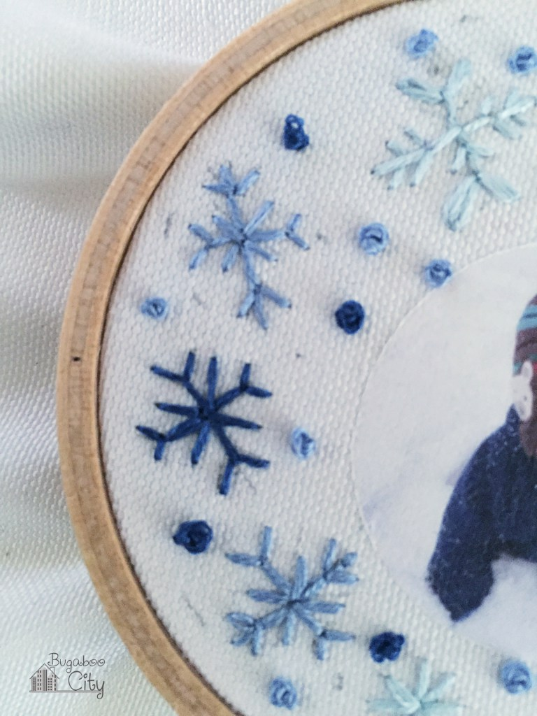 Picture Of diy embroidered photo ornaments for christmas  6
