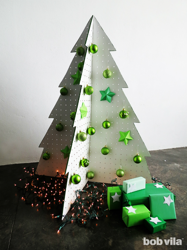DIY Folding Pegboard Christmas Tree