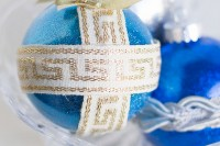 glitter and ribbon ornaments