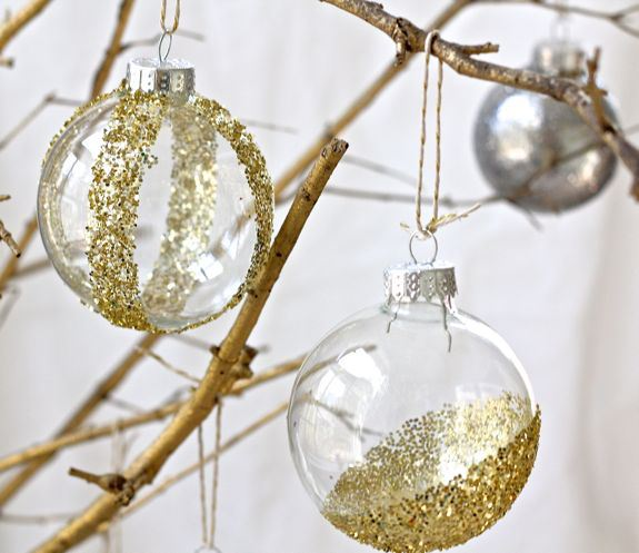 transparent glitter ornaments