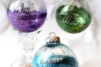 half glitter ornament