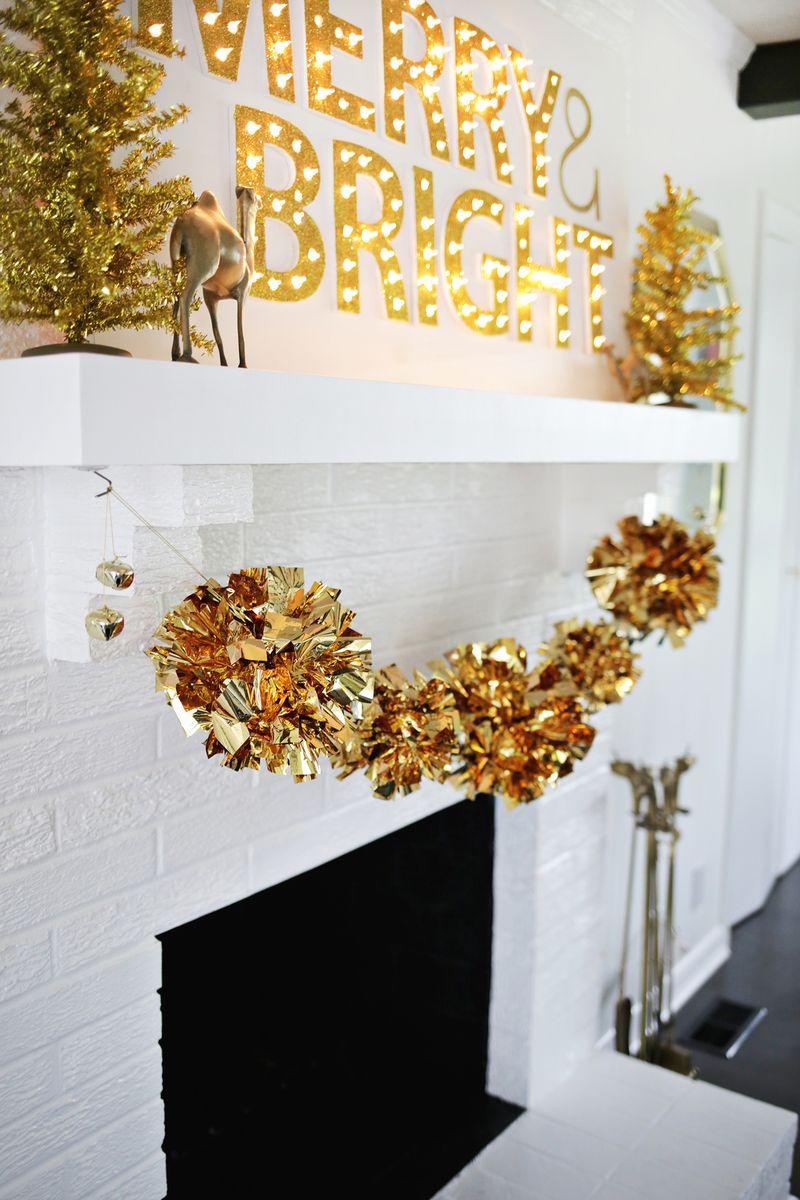 Picture Of diy sparkling gold mylar pompom garland  6
