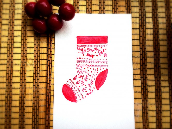 DIY Watercolor Christmas Socks CardShelterness