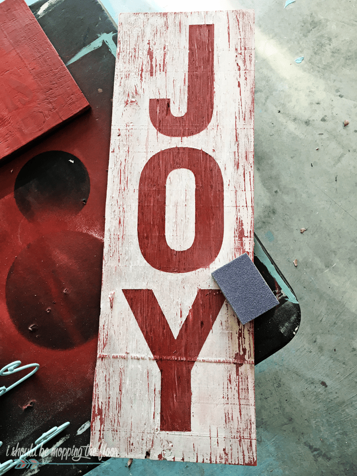 DIY Weathered JOY Sign For Coming Holidays