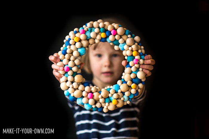 DIY Winter Wooden Bead Wreath To Make With Kids