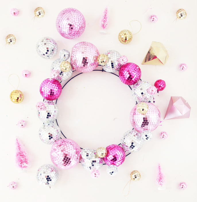 Picture Of diyshining disco ball wreath for christmas and new year  1