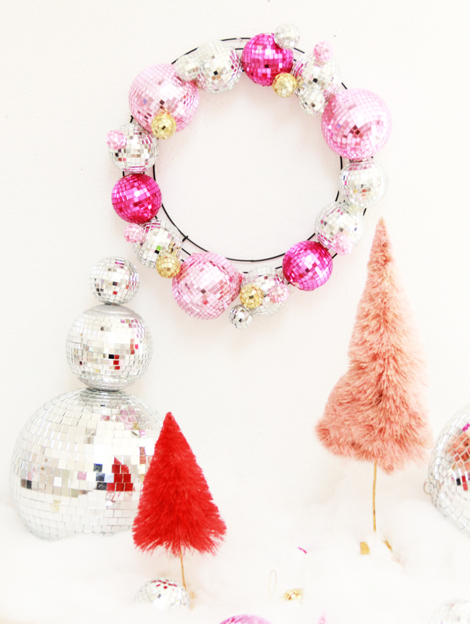 DIY Shining Disco Ball Wreath For Christmas And New Year