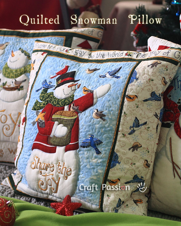 quilted snowman pillow (via craftpassion)