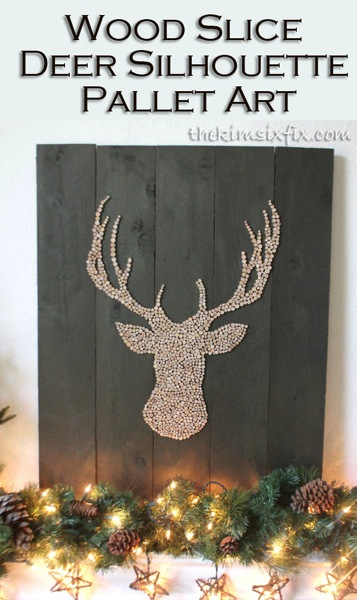 deer head pallet art via thekimsixfix - Christmas Deer Decor