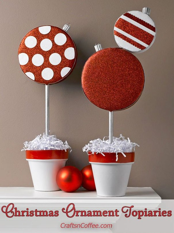 Sparkling DIY Christmas Ornament Topiaries