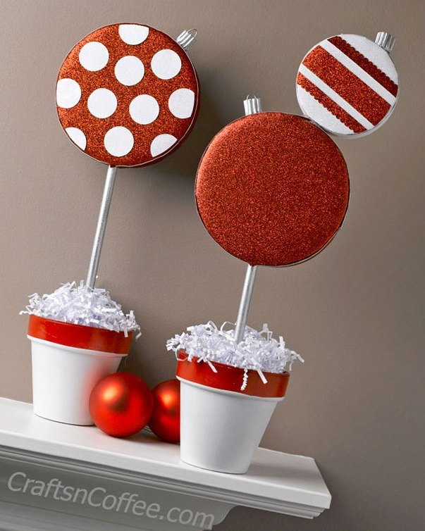 sparkling diy christmas ornament topiaries - Christmas Topiary