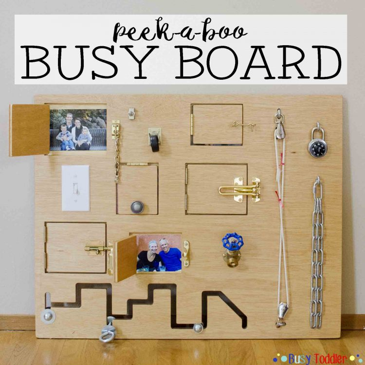 This board is made of 2 large plywood boards, Various door locks, Combination lock, Hose faucet, Toggle switch, Rope and pulley, Light switch, Caster wheel, Utility chain, Various screws (via busytoddler)