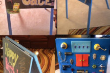 DIY lock and latch busy easel