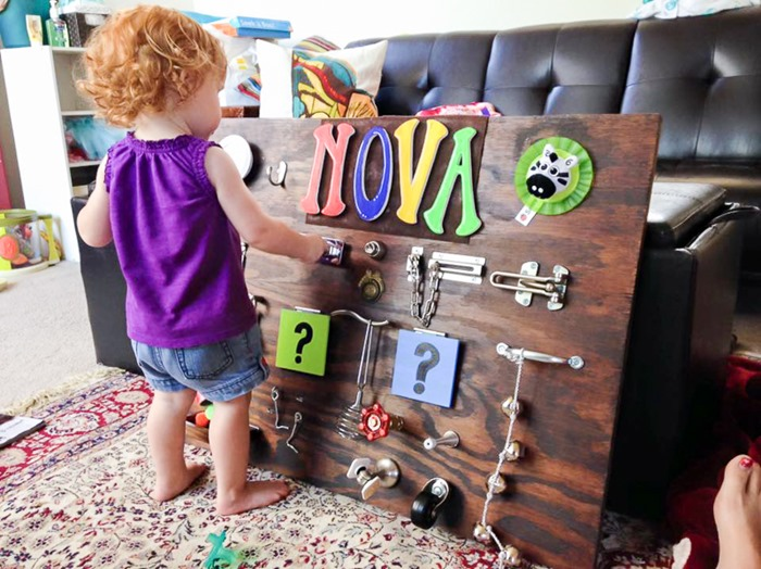 A sturdy back board that you can stain in whatever color you like is necessary for such project, especially if you want to find a place for it in a living room. (via handsonaswegrow.com)