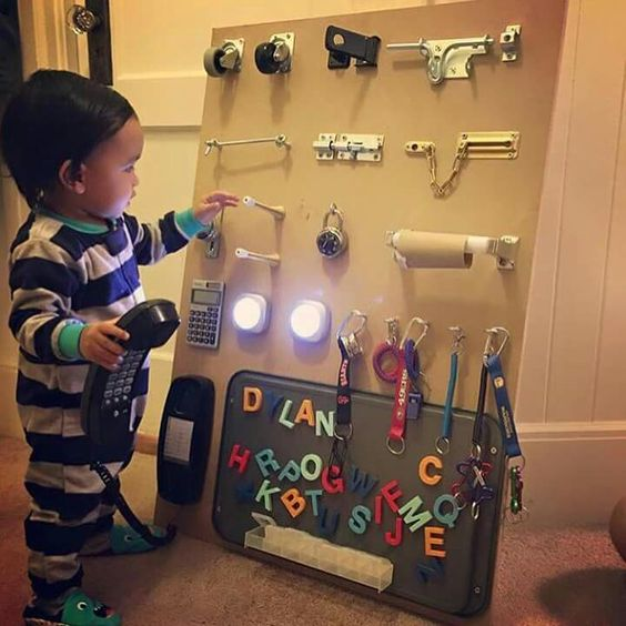 This unique sensory board features some push lights, magnet letters, a phone, a calculator and a bunch of other cool gizmos. (via involvery.com)