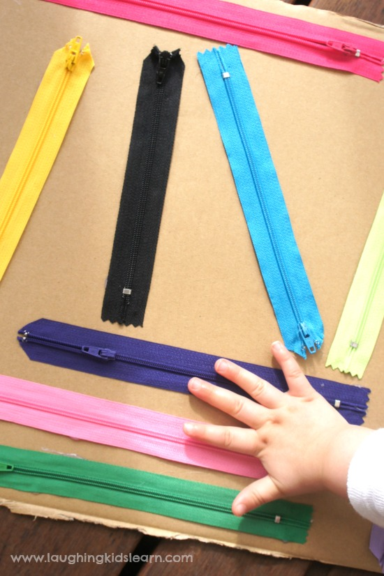 Do you want to help your kid learn how to dress by himself? This zipper board made of a piece of cardboard and a variety of zips is perfect for that. (via laughingkidslearn.com)