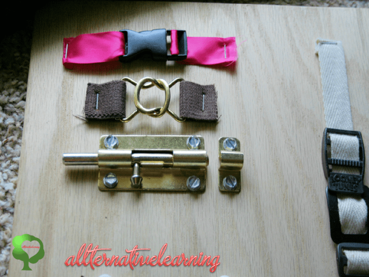 Even such things as an old belt, a surface mount draw latch, shoe laces, yarn scraps, a crank handle, a pully with a small rope, twist and lever door knobs could be used for a girl's sensory board. (via karacarrero)
