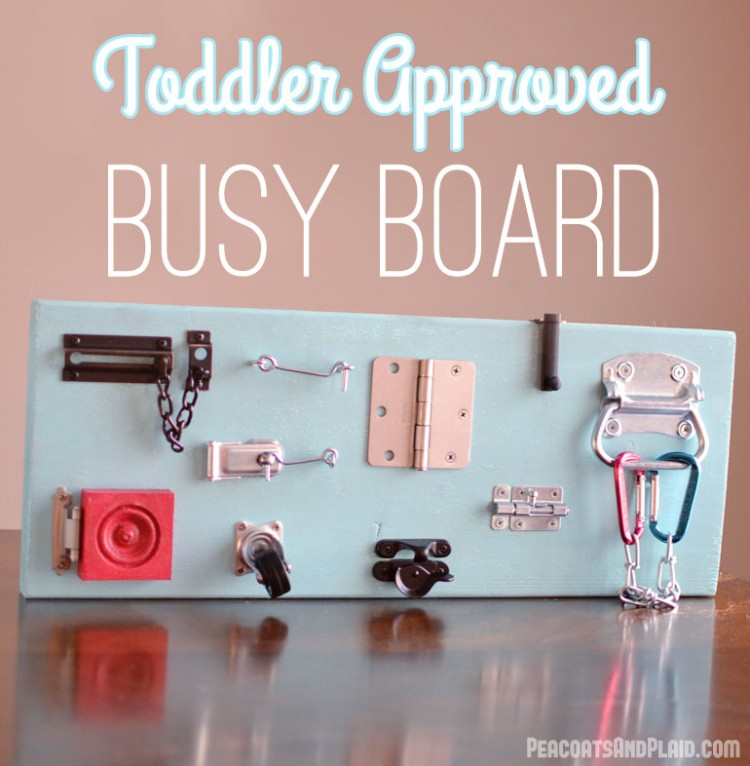 Purchase a variety of latches, hinges, and locks and make such busy board for your energetic kid. (via brepea)
