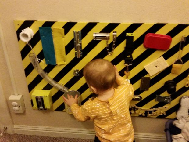 A wide range of sensory/play activities could be introduced in a compact package hanged on a wall. Perfect solution for small homes. (via instructables)