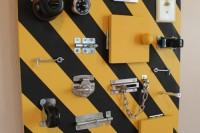 Striped busy board