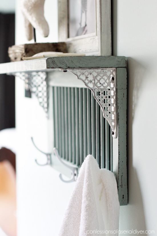 Picture Of diy bathroom shelf from an old shutter  4
