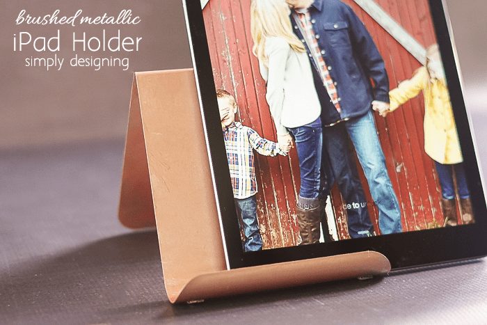DIY Brushed Metallic Rose Gold iPad Holder