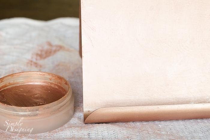 DIY Brushed Metallic Rose Gold iPad Holder