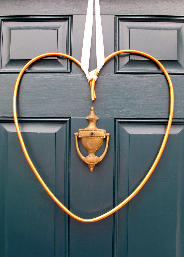 DIY Copper Heart Wreath For Valentine's Day
