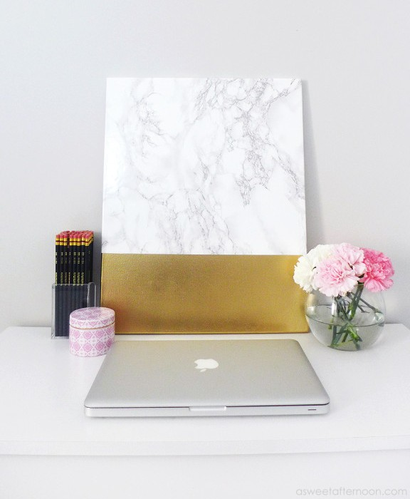 DIY Faux Marble And Gold Canvas Wall Art