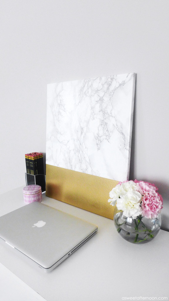 Picture Of diy faux marble and gold canvas wall art  6