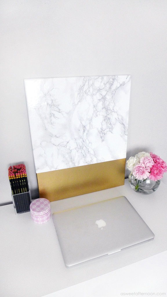 Diy Faux Marble And Gold Canvas Wall Art Shelterness