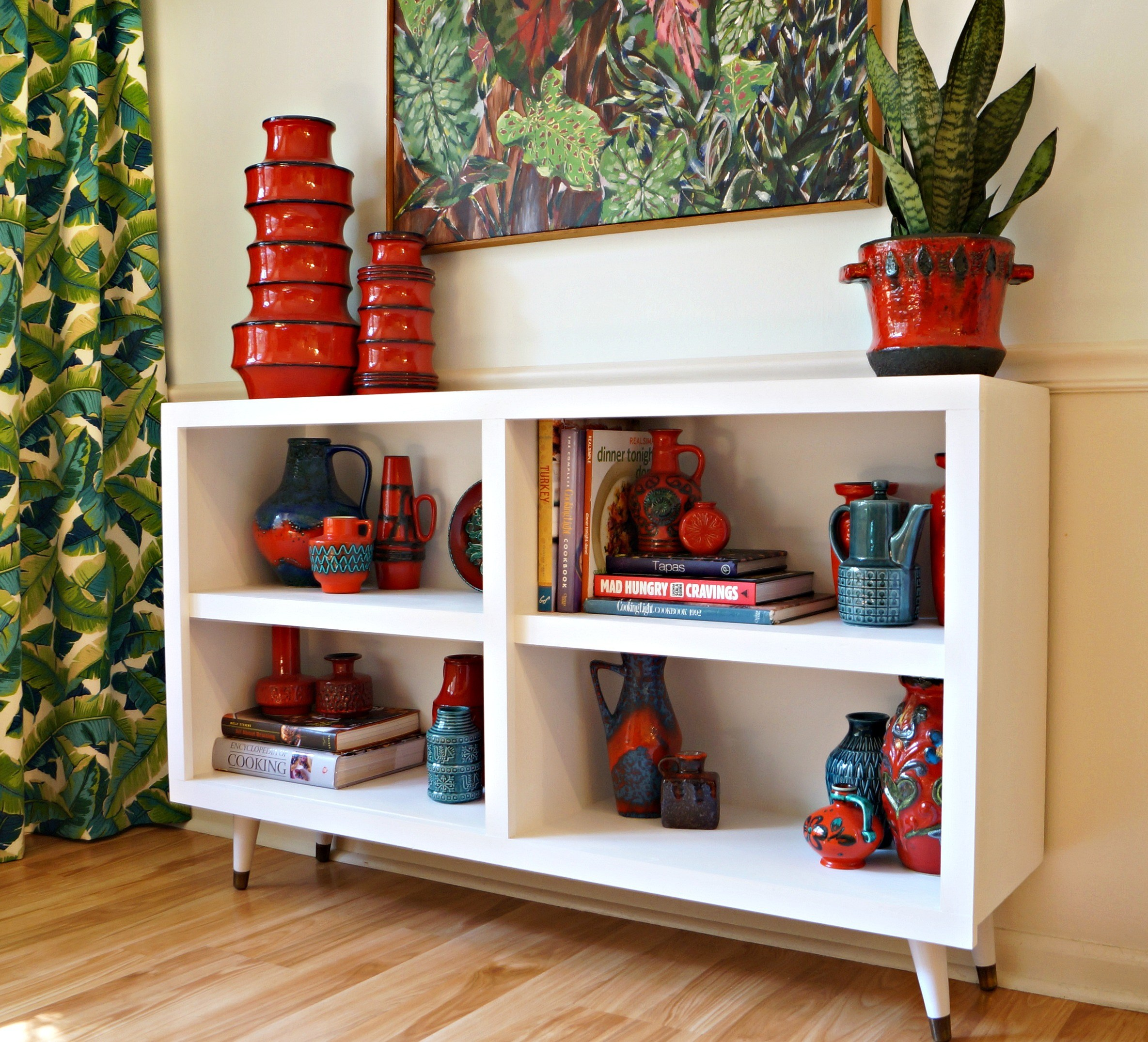 Picture Of diy mid century bookshelves from garage sale ones  1