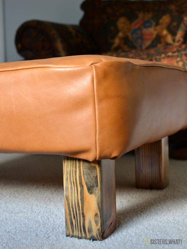 DIY Ottoman Makeover With Upholstery Leather