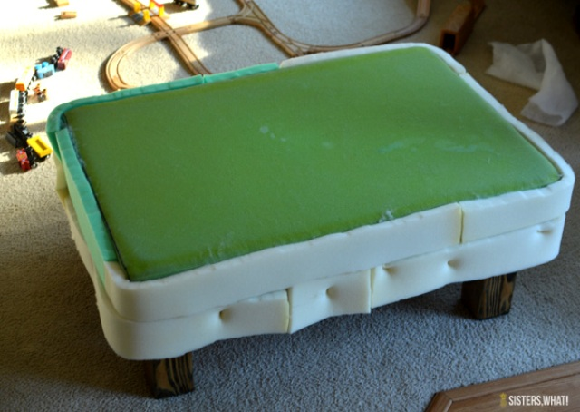 Picture Of diy ottoman makeover with upholstery leather  6