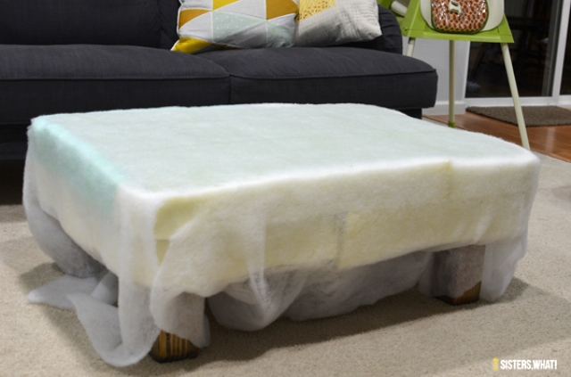 Picture Of diy ottoman makeover with upholstery leather  7