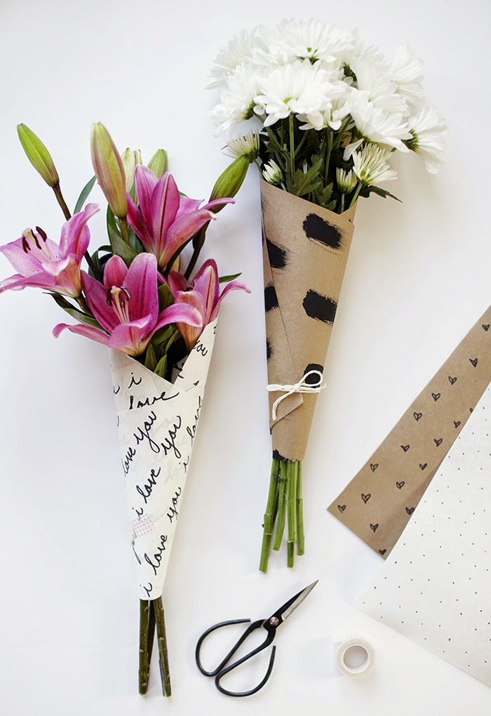 fun paper bouquet wrap