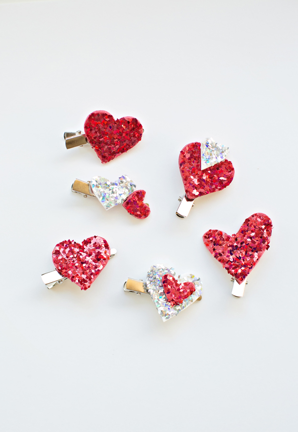glitter heart hair clips
