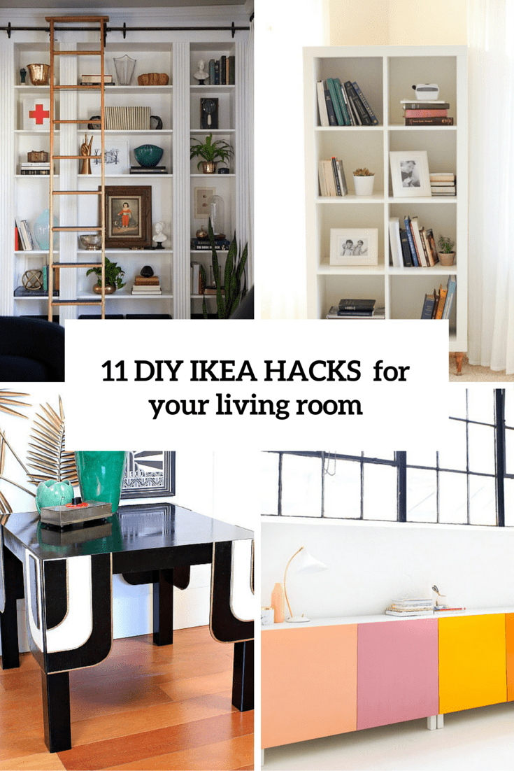 11 practical and chic diy ikea hacks for living rooms shelterness for Ikea living room storage ideas